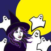 Witch in woods, halloween vector illustration — Stock Vector