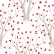 Vector trees with heart leaves, seamless pattern - Stock Vector