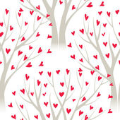 Vector trees with heart leaves, seamless pattern — Stok Vektör