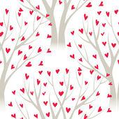 Los árboles con hojas de corazón, de patrones sin fisuras del vector — Vector de stock