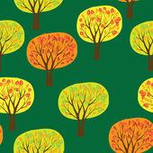 Hösten forrest seamless mönster med vektor träd — Stockvektor