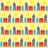 Village, small town at daylight, seamless pattern — Stock Vector