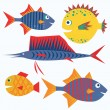 Royalty-Free Stock Vektorový obrázek: Family of funny fish. Vector isolated characters.