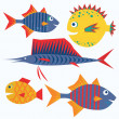 Royalty-Free Stock Vector Image: Family of funny fish. Vector isolated characters.
