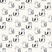 Vector seamless pattern with striped cats. — Stock Vector