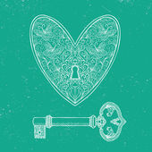 Locked heart and key on emerald green background — Stock Vector
