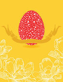 Easter card with flowers and red egg — Stock Vector