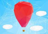 Hot air ballon, poplygonal vector illustration — Stock Vector