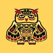 Art autochtone nord-américain, hibou — Vecteur