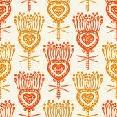 Patrón floral con motivos étnicos indios — Vector de stock