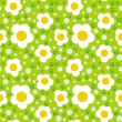 Pattern with bold and stylized flowers - Stock Vector
