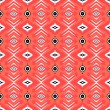 Hipster pattern with geometric forms in coral red — Stock Vector
