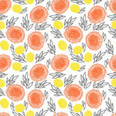 Vector pattern with flowers drawn in thin lines — Stock Vector