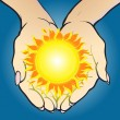 Vector illustration of hands holding shining sun and giving it. — Stock Vector