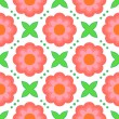 Wektor stockowy : Pattern with bold stylized pink flowers in 1970s style