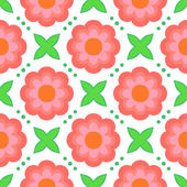Pattern with bold stylized pink flowers in 1970s style — Stock Vector