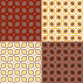 Set of 4 seamless vector pattern in 1970s style — Stock Vector