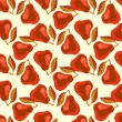 Grunge pattern with painted red pears and leafs. — 图库矢量图片