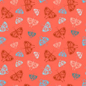 Pattern with colorful butterflies of random size — Stockvektor