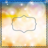 Card with decorative frames on bokeh lights — Stock Vector