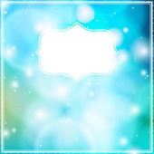 Vector card with frame on blue bokeh background. — Vector de stock