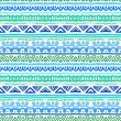 Aztec striped ethnic pattern in blue and green — Stock Vector