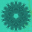 Mandala design in black on aqua green — Stock Vector
