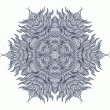 Mandala design or snowflake in dark blue — Stock Vector
