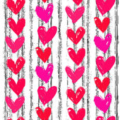Velentine's day pattern with hand painted hearts. — Stock Vector