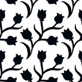 Ditsy floral pattern with black tulips on white — Stock Vector