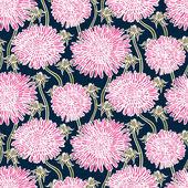 复古花纹与蒲公英或紫苑. — 图库矢量图片