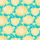 Vintage floral pattern with dandelions or asters. — Stock Vector