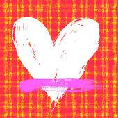 Carte avec main piochée coeur sur fond carreaux — Vecteur