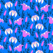 Vector floral pattern with tulips and lilies — Wektor stockowy