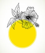 Vector card with hibiscus on yellow circle frame. — Stock Vector