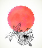Tarjeta vector con hibisco en acuarela rosa — Vector de stock