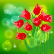 Vector card with red tulips on light green bokeh — Stock Vector
