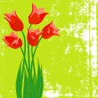 Vector card with red tulips on textured background — Stock Vector