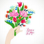 Tarjeta con ramo de flores de primavera y verano — Vector de stock
