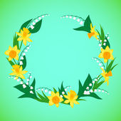 Vector illustration of a wreath with flowers — Wektor stockowy