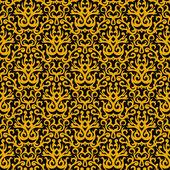 Patrón damasco en oro sobre fondo negro — Vector de stock