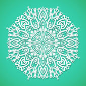 Mandala or snowflake on bright turqoise — Stock Vector