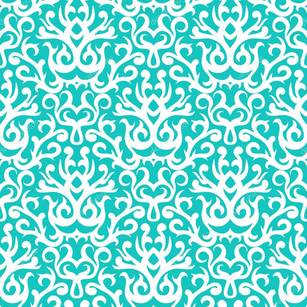 Damask pattern in white on turquoise — Stock Vector © tukkki ...