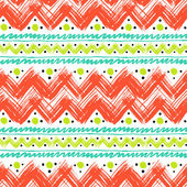 Ethnic pattern hand painted with zigzag brushstrokes — Stock Vector