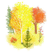 Vector background with autumn forest — Stock Vector