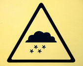 Photo realistic reflective metallic 'snow warning' sign — Stock Photo