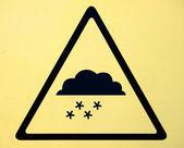 Photo realistic reflective metallic 'snow warning' sign — Stock Photo