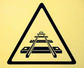 Railroad crossing traffic sign — Stok fotoğraf