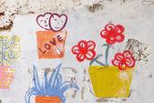 Graffiti on the wall captured , bangkok thailand — Stock Photo