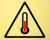 High temperature warning sign — Stock Photo
